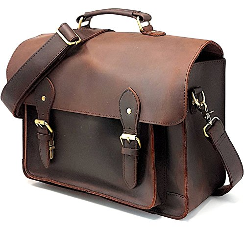 CHI DSLR Laptop Briefcase; Vintage Leather Camera Bag with Removable Insert; Handcrafted with Genuine Leather; Fits Professional Size DSLR with lens For Canon Nikon Sony; by chicago saddle