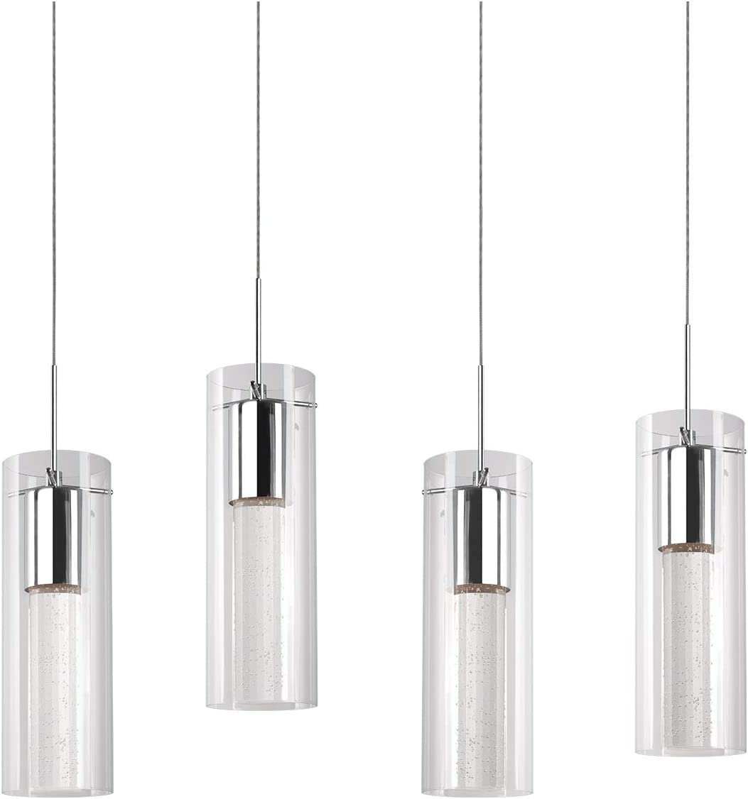 Kuzco Lighting PD4404-CH Four Led Pendant with Encased Crystal Bubbles in Glass Shade On Chrome Canopy