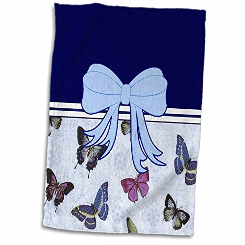 3dRose Bows n Ribbons - Image of Light Blue Bow With Butterflies - 15x22 Hand Towel (twl_271132_1)