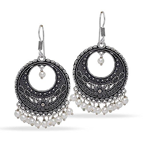 ollywood Glass Stone Silver Plated Earrings White Jewellery ()