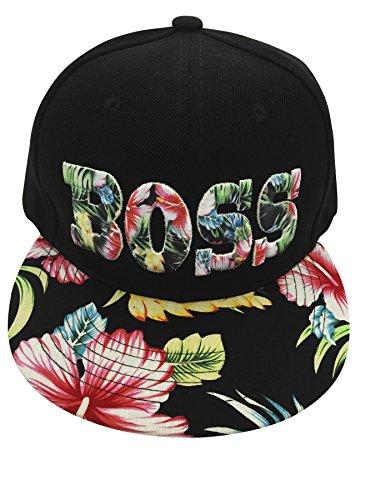[BOSS FLAT BILL SNAP BACK FLORAL CAP] (Ethnic Hats)
