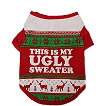 Hot Sale! Clearance! Todaies Christmas Dog Clothing Cotton T shirt Puppy Costume 2017 (M, Red)