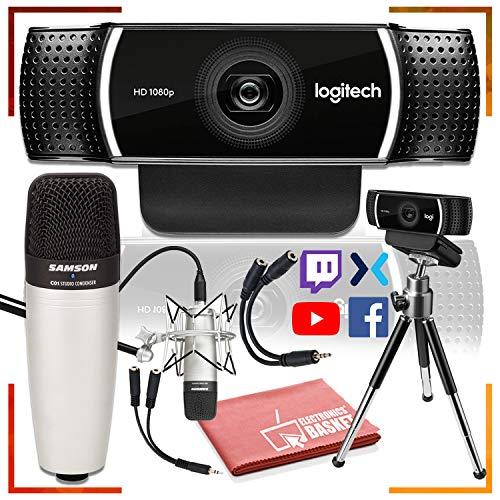 Logitech C922 Pro Stream Webcam 1080P with Tripod and Samson C01 Studio Condenser Microphone Deluxe Streamer-Podcast Bundle
