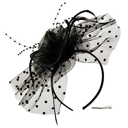 Fascinators Hat for Women Tea Party Headband Kentucky Derby Wedding Cocktail Flower Mesh Feathers Hair Clip (3-Black)]()