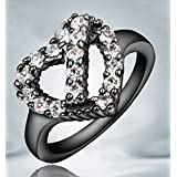 Sumanee New Woman's Sapphire Black Gold Filled Wedding Engagement Bridal Ring SIZE 5-9 (9)