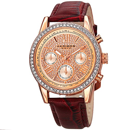(Akribos XXIV Women's AK871BUR Crystal Accented Two Time Zone Pave Dial Rose Tone and Burgundy Leather Strap Watch)