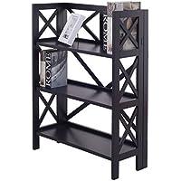 Tangkula 3 Tier Folding Shelf Stackable Home Office Furni Bookshelf Bookcase