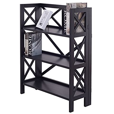 New Black 3 Tier Stacking Folding Bookshelf Book Case Storage Home Office Furniture - 3 Shelf Stacking Bookcase