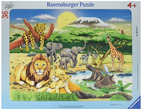 Ravensburger African Animals Frame 36 Piece Jigsaw Puzzle for Kids - Every Piece is Unique, Pieces Fit Together Perfectly