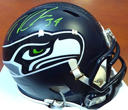 6fedace3cb4 Image Unavailable. Image not available for. Color  Thomas Rawls Signed Seattle  Seahawks Speed Replica Mini Helmet In Green - Autographed NFL Football ...