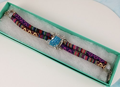 Multi-Color Woven Tweed Corded Snap Bracelet with Interchangeable Turquoise Christmas Stocking Snap and Toggle Clasp