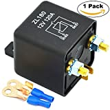 Ehdis® 12V 120A 4 Pin Car Relay Black Box Battery for Automobile Heavy Vehicle Truck Excavator Van Boat + 2 Pin Footprint + 2 Terminal [1 Set]