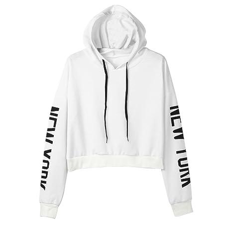 d33f6042cc Sweatshirt Femme Imprimé, LMMVP Femmes Sweat à Capuche Des Lettres Pullover  Sweat-shirt Chemisier