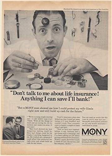 1968 Watch Repairman Rheinhold Knoblauch Nyc Mony Life Insurance Print Ad  Memorabilia   61236