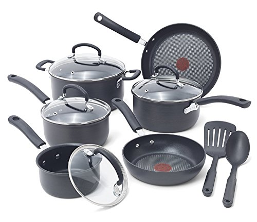 T-fal E765SC Ultimate Hard Anodized Scratch Resistant Titanium Nonstick Thermo-Spot Heat Indicator Anti-Warp Base Dishwasher Safe Oven Safe PFOA Free Cookware Set, 12-Piece, Gray (Pans Pots T-fal)