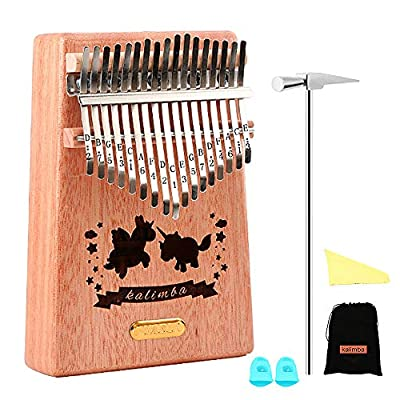 QStyle Kalimba 17 Key Thumb Piano Include Tuning kit Hammer and Study Instruction & Simple Sheet Music Suitable for kids Adult Beginners, Professionals - Perfect Christmas Gift