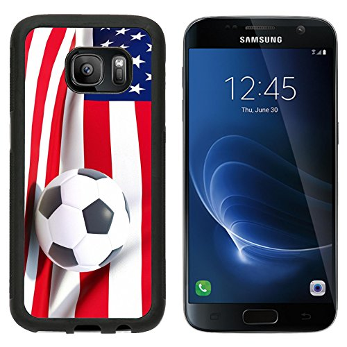 MSD Premium Samsung Galaxy S7 Aluminum Backplate Bumper Snap Case Flag of united states of america with football in front of it IMAGE - America Football Backplate