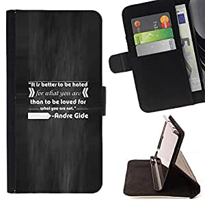 DEVIL CASE - FOR Sony Xperia M2 - Andr? Gide Quote Inspiring Love Hate Do What - Style PU Leather Case Wallet Flip Stand Flap Closure Cover