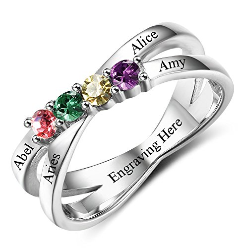 Diamondido Custom Mothers Rings with 4 Simulated Birthstones Personalized Names Grandmother Promise Rings for Women (9) by Diamondido