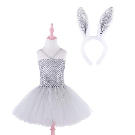 BESTOYARD Bebés niñas Vestido Encaje tutú Traje Conejo Bebe con Diadema para Pascua año Nuevo cumpleaños Cosplay Bautismo 120cm(Gris)
