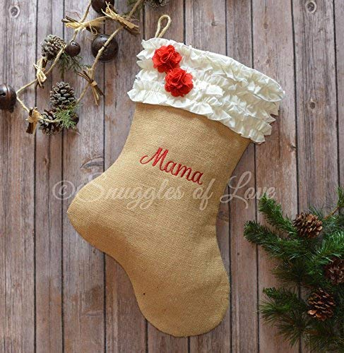 burlap christmas stocking tan burlap stocking with ivory cream ruffles red burlap flowers and - Burlap Christmas