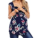 WUAI Womens Maternity Tunic Tops Casual Comfy Pull-up Nursing Floral Print Pregnancy Shirt(Black,Large)
