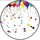 Short Plush Round Rug Children Party Balloons in The Air Vibrant Celebration Birthday Joyful Kids Nursery Theme Color Anti-Slip Children's Floor 27.5'' x 27.5'' Round
