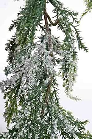 Vinyl Artificial Cedar Garland With Sparkling Faux Snow Accent