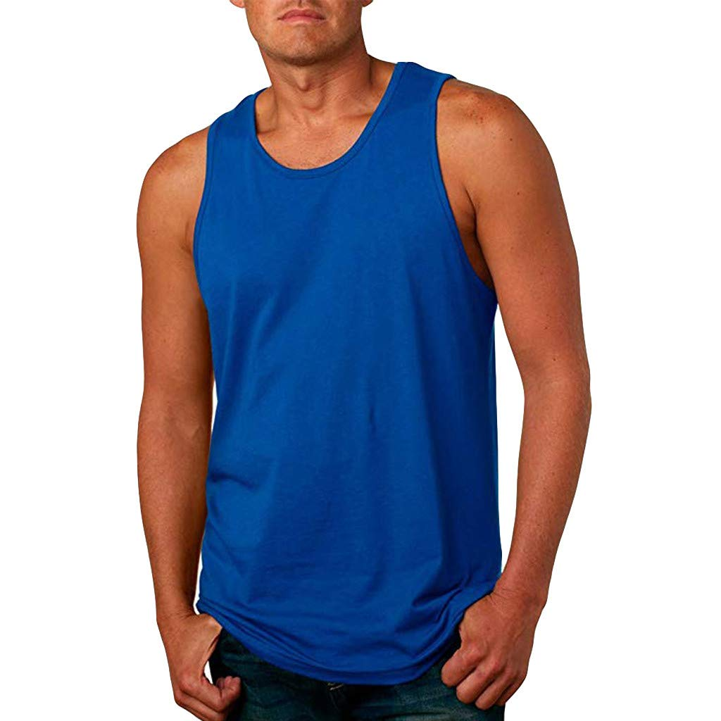 Giulot Men's Adult Garment-Dyed Tank Top Heavy/Core Cotton Vest Top Relaxed Fit Ultra Soft Sleeveless Quick-Dry T-Shirt Blue