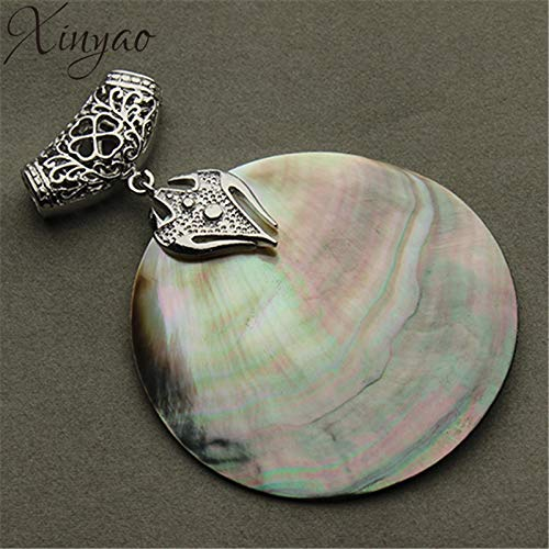 Vintage Natural Mother of Pearl Shell Pendant | Antique Silver Plated Abalone Shell Pendants | Charms Jewelry ()