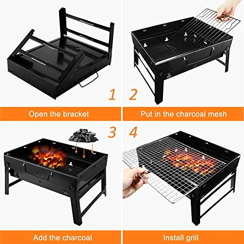 LETION UTTORA Charcoal Grill Barbecue Portable BBQ - Stainless Steel Folding Grill Tabletop Outdoor Smoker BBQ for Picnic Garden Terrace Camping Travel 15.35\'\'x11.41\'\'x2.95\'\'