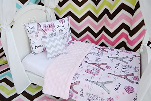 Daydream Doll Boutique 18 Inch Doll 3 Pc. Bedding Set fits American Girl, Pretty in Paris, Made in the USA