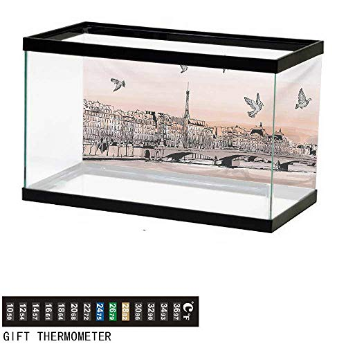 Panorama Landscape (wwwhsl Aquarium Background,Landscape,Panorama Sketch Art Sunset View of Paris from Pont Des Arts with Pigeons River,Peach Grey Fish Tank Backdrop 36
