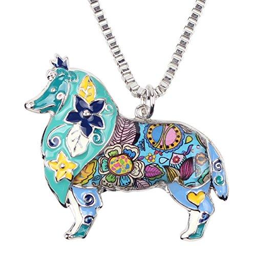 (BONSNY Love Heart Enamel Zinc Alloy Metal Sheltie Rough Collie Necklace Dog Animal Pendant 18