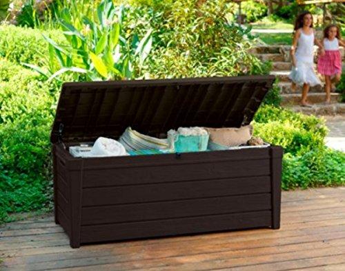 Home Storage Solutions, Resin Wicker Deck Box, Garden Tools Organizer, 120 Gallon,Versatile, Attractive, Color Brown