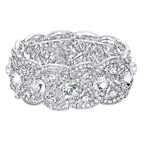 EVER FAITH Austrian Crystal Wedding Art Deco Elastic Stretch Bracelet Clear SilverTone