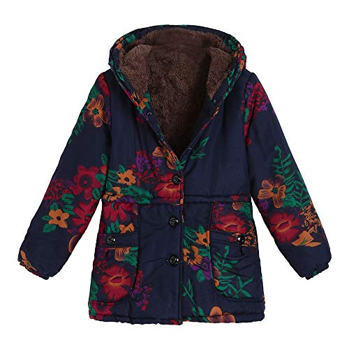 Seaintheson Winter Coat for Women, Women's Warm Vintage Outwear Floral Print Hooded Pockets Oversize Overcoat Jacket