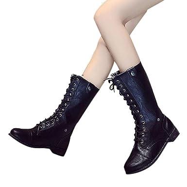OSYARD Damen Halbschaft Booties Lace Up Flache Lederstiefel