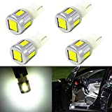 Alla Lighting 4x Super Bright Samsung 5630 SMD T10 Wedge 194 168 2825 W5W 175 White LED Bulbs for Replacing The Interior Lights