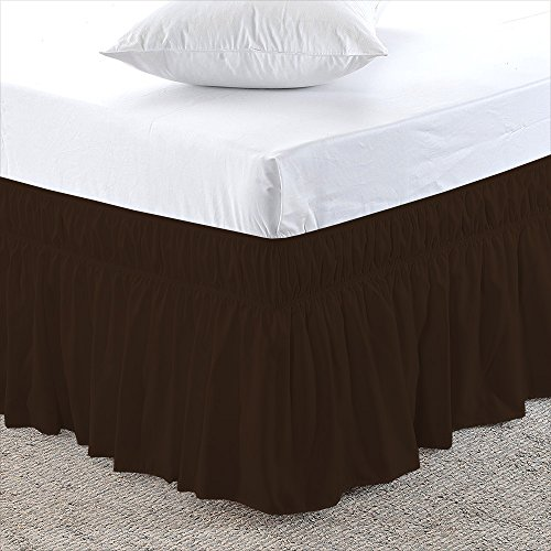 Chocolate, Full-XXL Size 24 inch Drop - Wrap Around Elastic Bed Skirt - Poly Cotton - Easy On/Easy Off Dust Ruffled Bed Skirts Soft & Wrinkle Free Bed Skirt. (Brocade Poly)