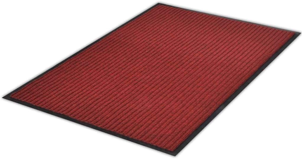 vidaXL Antideslizante Bienvenida Piso Felpudo Alfombra De Entrada De PVC Roja 90X60 cm