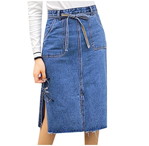 Coolred Women's Classic Solid-Colored Denim Split Pencil Long Skirt Blue S
