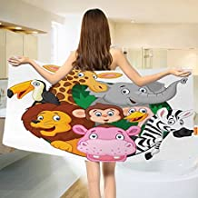 "Cartoon Bath towel Exotic Safari Animals All Together Comic Creature with Zebra and Elephant Friend Sketch Cotton Beach Towel Multi (55""x28"")"