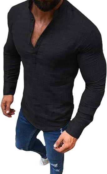 ZAXARRA Mens V-Neck Long Sleeve T-Shirt Linen Breathable Autumn Shirt Tops Clothes