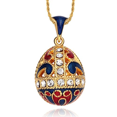 Enamel Egg Pendant - TF Charms® Enamel Easter Egg Pendant Necklace 18 Inches with 18k Gold Color (Blue)