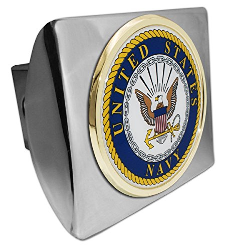 - United States Navy Eagle Chrome Metal Hitch Cover