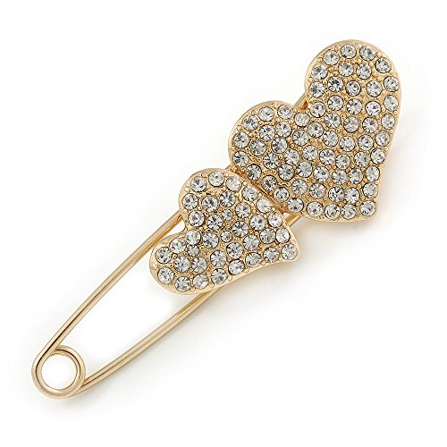 Avalaya Gold Plated, Clear Crystal Double Heart Safety Pin Brooch - 70mm L