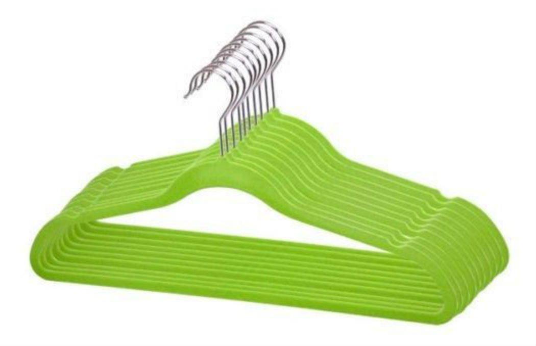 Velvet Slim SPACE SAVING Hangers 120 pack Lime Green FH01144
