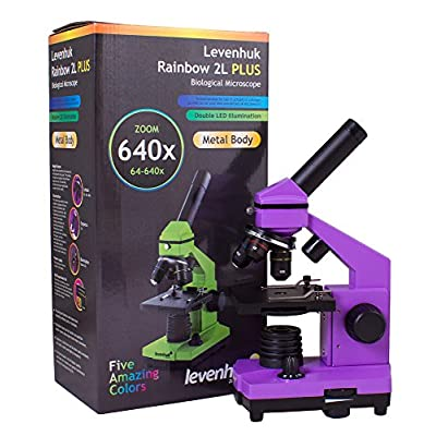 Levenhuk Rainbow 2L Plus Amethyst Metal Student Microscope (64-640x) with Experiment Kit for Indoor and Outdoor Use: Toys & Games
