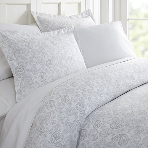 ienjoy Home Duvet Cover Set Coarse Paisley Patterned QueenLight Gray (Cover And White Purple Duvet)